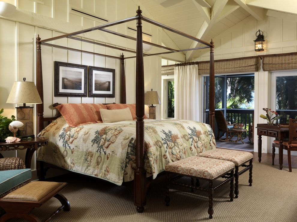 Beachy Bedding with Tropical Bedroom  and Bedroom British Colonial Casual Tropical White