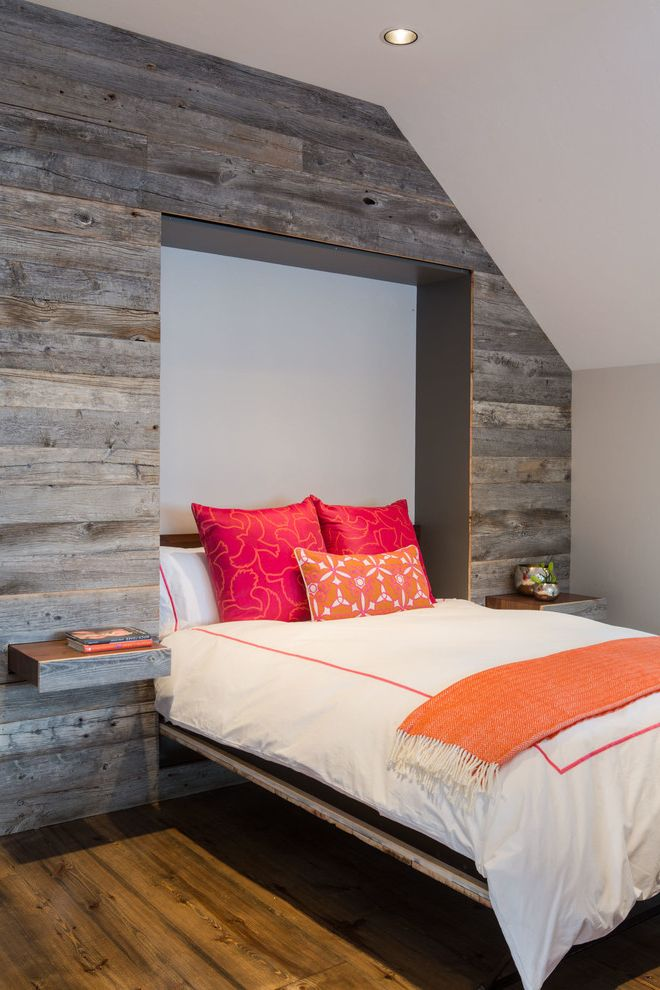 Bed That Comes Out of the Wall with Rustic Bedroom  and Bright Colors Exposed Wood Hideaway Shelves Murphy Beds Pop of Color Recessed Lighting Slanted Ceiling