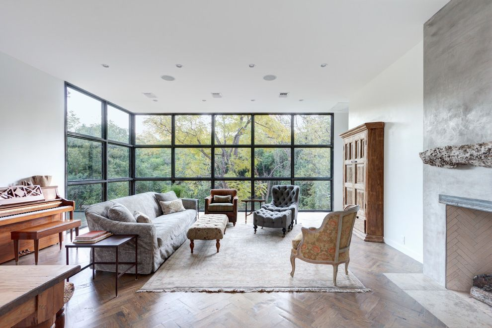 Best Way to Clean Car Windows   Contemporary Living Room Also Ceiling to Floor Windows Concrete Fireplace Wall of Windows Wood Burning Fireplace Wood Piano Wooden Floor Herringbone