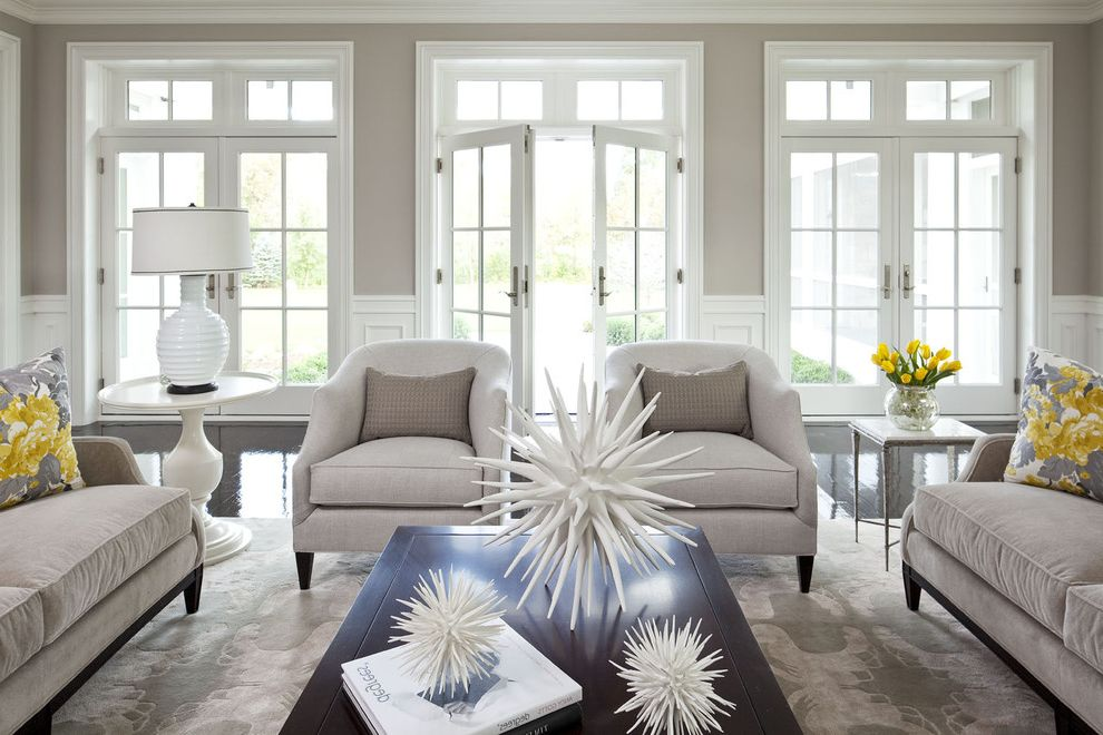 Best Way to Clean Car Windows   Traditional Living Room  and Area Rug Black Black Floor Cocktail Table Decorative Pillows End Table French Doors Gray Lamp Lounge Chair Martha Ohara Interiors Sofa Spiky Accessory Star Accessory Taupe White Yellow