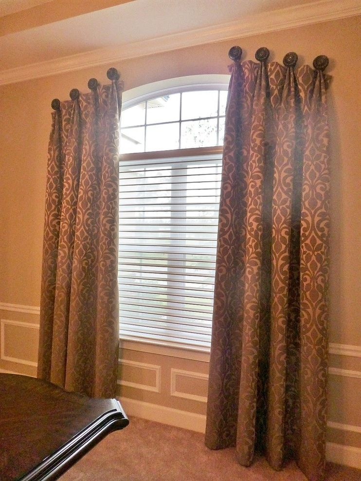 Budgetblinds   Contemporary Dining Room  and Arch Blinds Brown Curtains Dark Wood Decorative Decorative Hardware Dining Room Table Drapery Drapery Hardware Gold Shades Sheer Shadings Sheers White Window Arch Window Covering Window Treatments