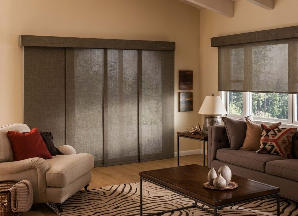 Budgetblinds   Contemporary Living Room  and Accent Rug Animal Print Brown Coffee Table Custom Window Treatments Gray Light Wood Floor Neutral Colors Patio Door Roller Shades Sliding Panels Solar Roller Valance Vertical Window Coverings