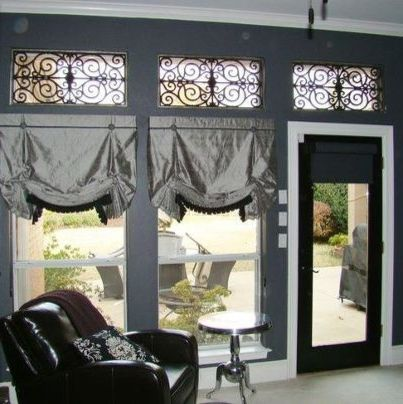 Budgetblinds    Living Room  and Arch Arches Faux Iron Gray Leather Motorized Odd Shape Pewter Roman Shades Shutters Side Table Window Coverings Window Treatments Windows