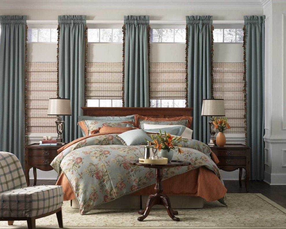 Budgetblinds with Contemporary Bedroom  and Accent Chair Accent Pillows Accent Rug Bedding Blue Brown Curtains Draoery Hardware Drapery Hardwood Floors Panels Roman Shades Tassels White Window Coverings Window Treatments