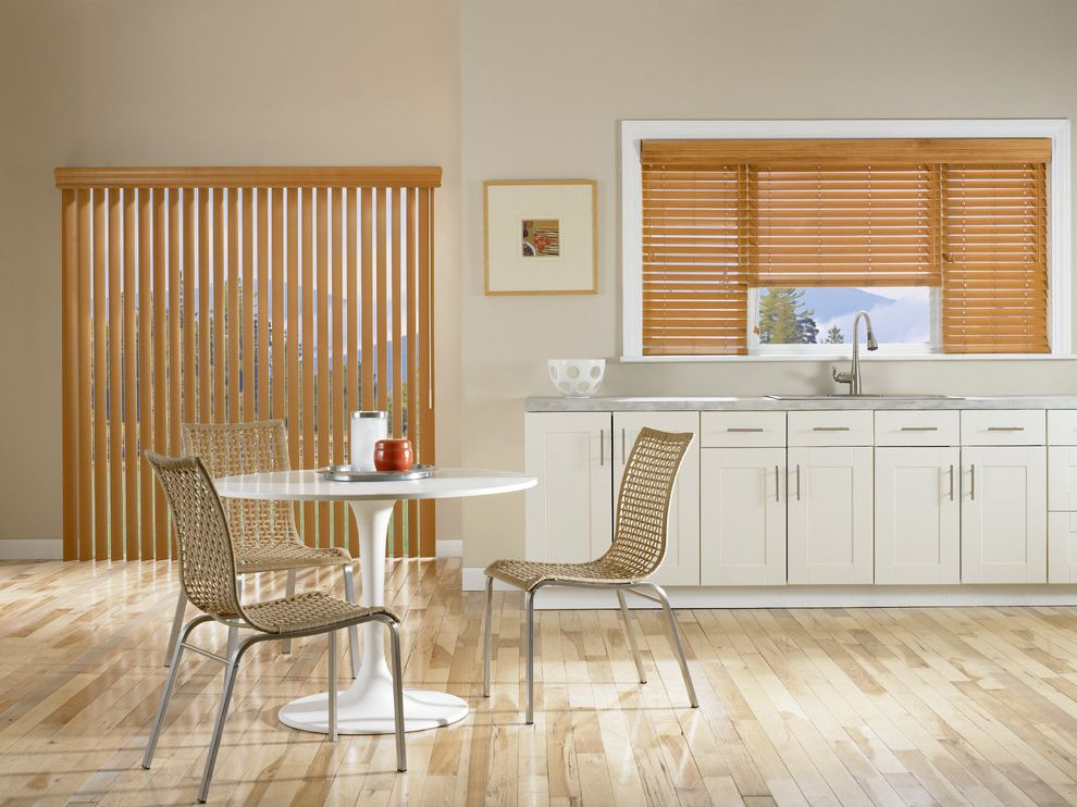 Budgetblinds with Contemporary Kitchen  and Blinds Contemporary Faux Wood Floors Horizontal Kitchen Light Wood Vertical White Cabinets Wood