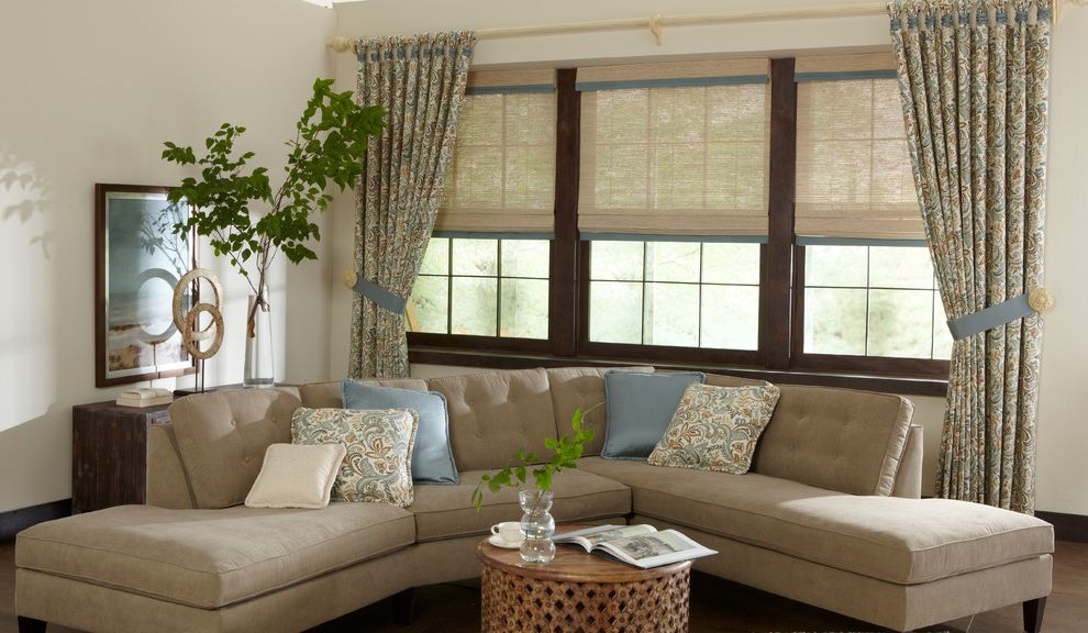 Budgetblinds with Contemporary Living Room  and Accent Pillows Blinds Blue Accent Combination Sofa Curtains Drapery Family Room Indoor Plant Living Room Long Couch Natural Shades Shades Wood Floor Woven Wood Woven Wood Shades