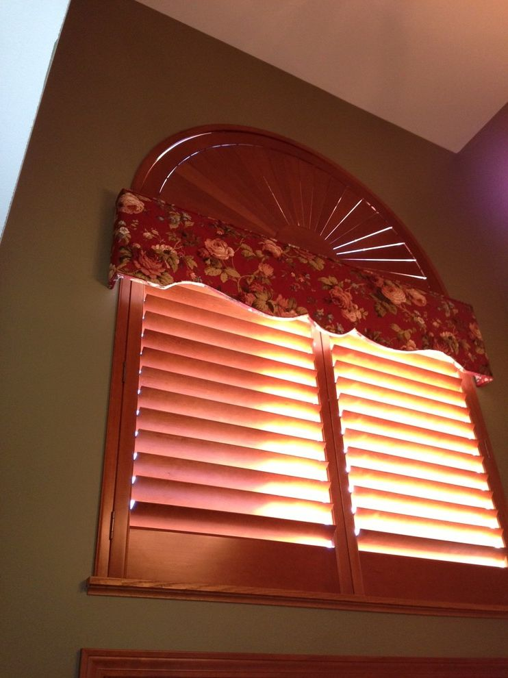 Budgetblinds with  Hall  and Arches Family Room Shutters Unique Windows Valance Window Treatments