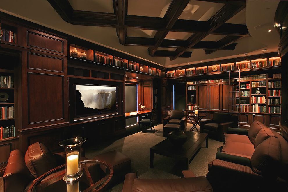 Cherry Creek Theater   Traditional Home Theater  and Bookcase Bookshelves Built in Shelves Ceiling Treatment Club Chairs Coffered Ceiling Home Theater Library Library Ladder Rolling Ladder Screening Room Wood Cabinets