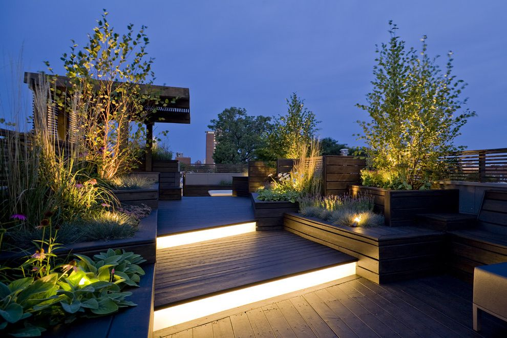 City Lights on Fig   Contemporary Deck  and Chicago Landscape Linear Lights Modern Roof Deck Pergola Planters Roof Deck Roof Garden Step Light