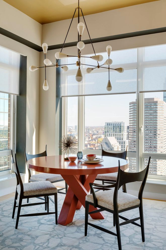 City Lights on Fig with Contemporary Dining Room Also Area Rug City View Dining Chairs Lutron Shades Pendant Light Round Dining Table Windows