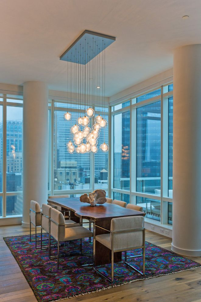 City Lights on Fig with Contemporary Dining Room Also Chandelier City Views Colorful Area Rug Dining Table Light Live Edge Dining Table Urban
