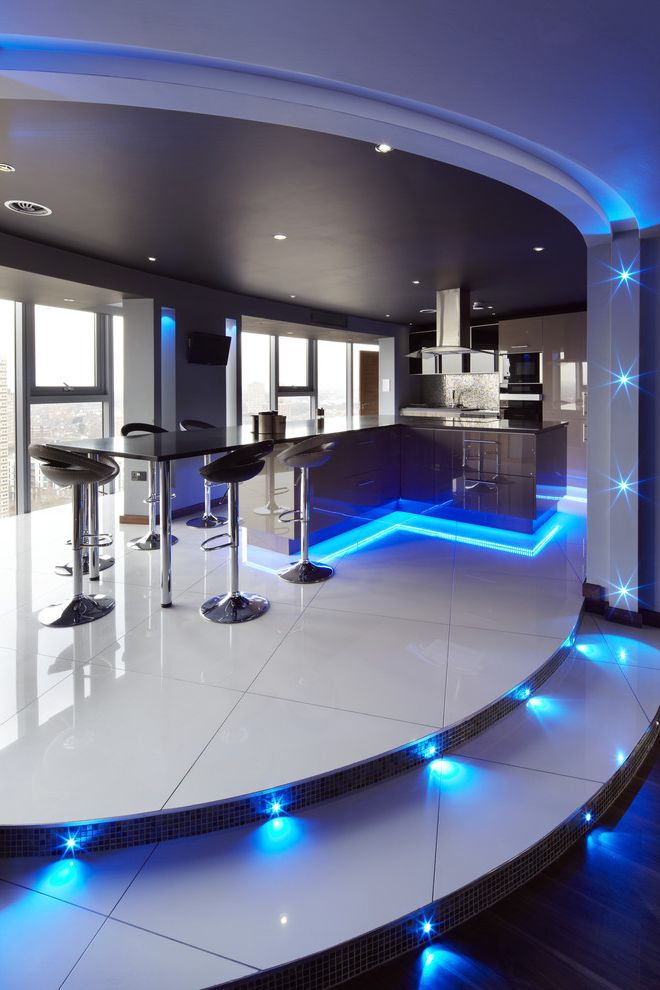 City Lights on Fig with Contemporary Kitchen Also Black Ceiling Black Counters Blue Accent Lights City Counter Stools Cove Lighting Curved Steps Recessed Lights Skyline Tile Tile Floor Urban White Floors