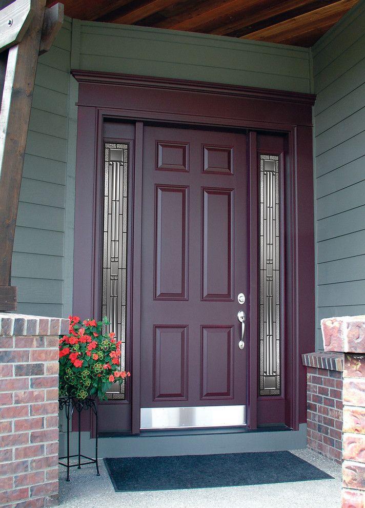 Codel Doors   Traditional Entry Also 6 Panel Door Brick Codel Door Concrete Entry Door Exterior Door Potted Plants Side Light Side Lite Siding Stone Windows