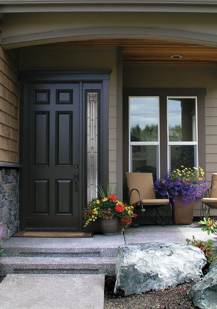 Codel Doors   Traditional Entry  and 6 Panel Door Codel Door Concrete Entry Door Exterior Door Potted Plants Side Light Side Lite Siding Stairs Stone Windows