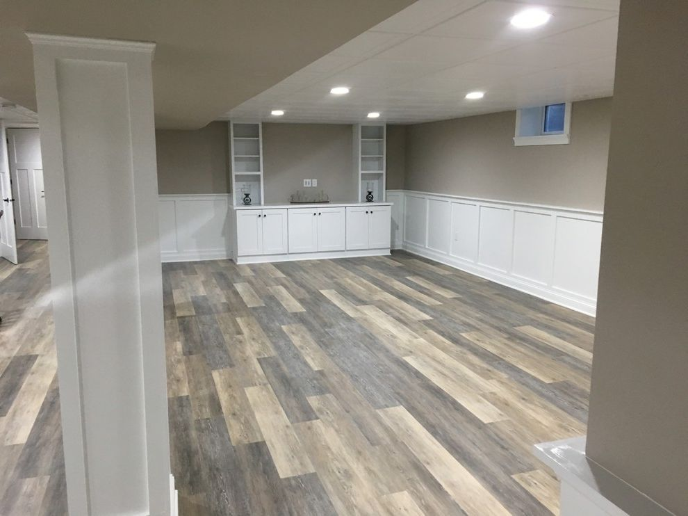 Cortex Flooring   Rustic Spaces  and Accent Lighting Bar Area Cortex Plus Flooring Luxury Vinyl Flooring Quartz Shaker Shaker Style Stairway White Cabinet White Ceiling White Wainscoting Wood Floors