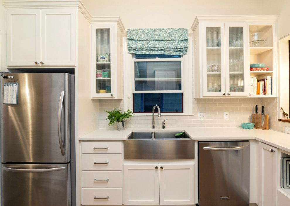 Cost of Farmhouse Sink   Traditional Kitchen Also 3x6 Subway Tile Double Bowl Farmhouse Sink Farmhouse Sink Glass Front Cabinets Roman Shade Stainless Steel Farmhouse Sink Updated Kitchen White Cabinet