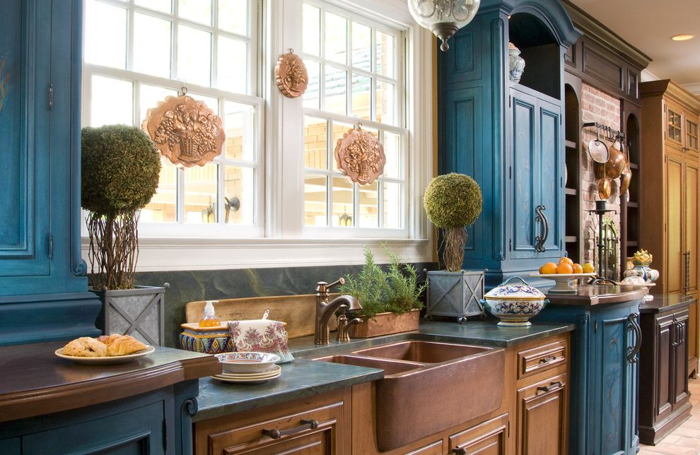 Cost of Farmhouse Sink with Farmhouse Kitchen  and Apron Sink Blue Cabinets Copper Molds Copper Sink Farmhouse Sink House Plants Kitchen Hardware Ornate Rustic Small Topiary Topiary Two Tone Cabinets Wall Art Wall Decor Wood Cabinets