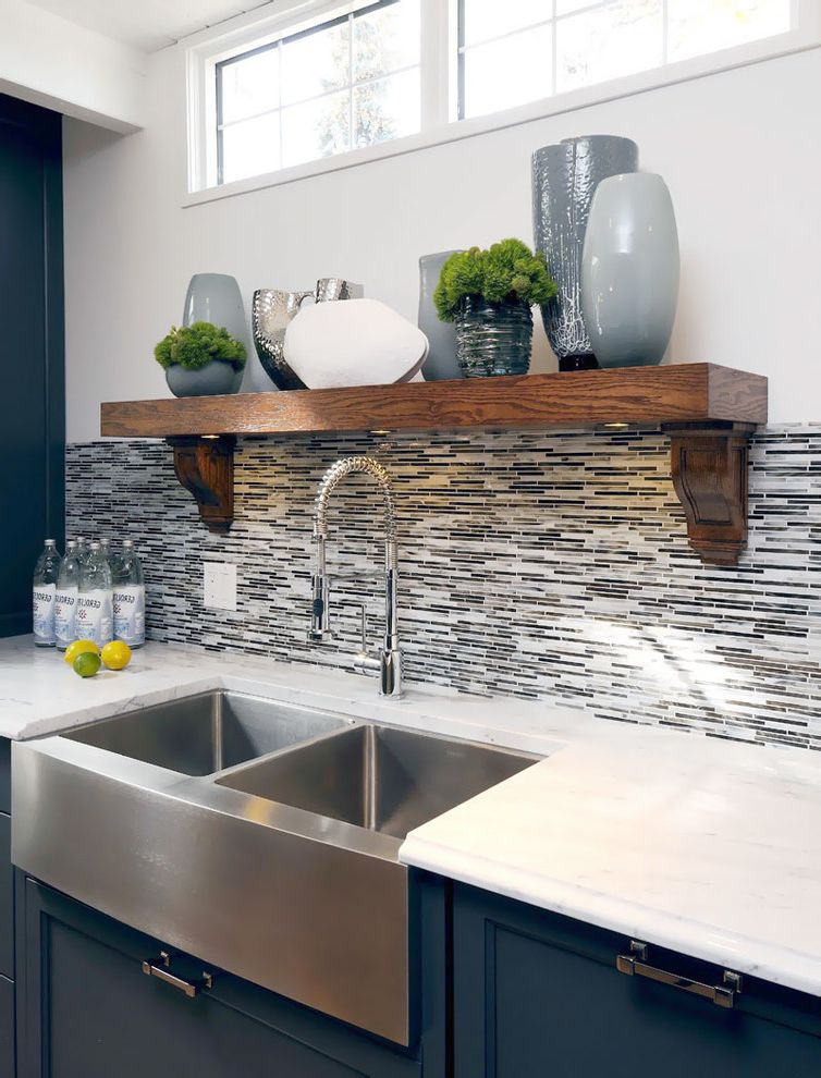 Cost of Farmhouse Sink with Transitional Kitchen  and Apron Sink Blue Cabinets Collection Farmhouse Sink Kitchen Hardware Kitchen Shelves Stainless Steel Sink Tile Backsplash Under Cabinet Lighting Vases