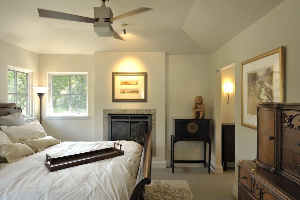 Costco Ceiling Fans with Contemporary Bedroom  and Area Rug Bed Tray Carpeting Ceiling Fan Fireplace Floor Lamp Secretary Sleigh Bed Tile Fire Surround Vaulted Ceiling Wall Sconce White Duvet