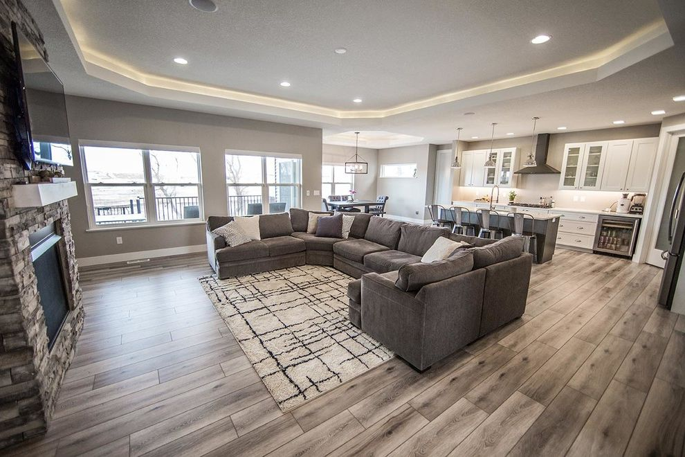 Costco Ceiling Fans with Transitional Family Room Also Basement Bar Coffered Ceiling Corner Pantry Custom Kitchen Appliances Pantry Doors Wet Bar