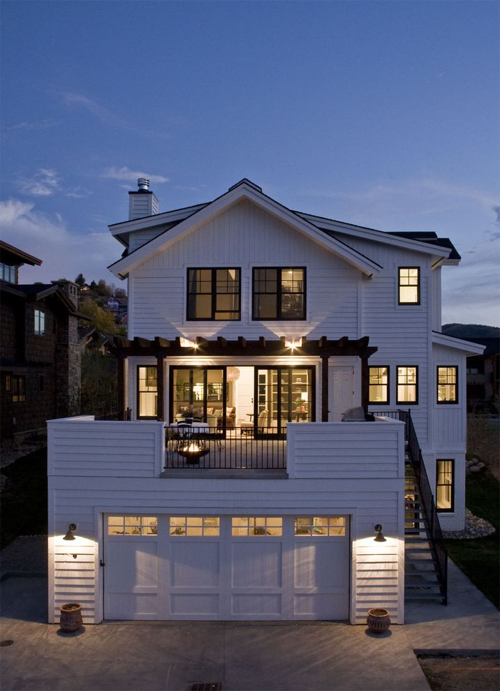 Deck Over Reviews with Farmhouse Exterior Also Black Window Trim Chimney Double Hung Windows Driveway Farm House Fire Bowl Garage Outdoor Staircase Pergola Roof Deck White Lap Siding