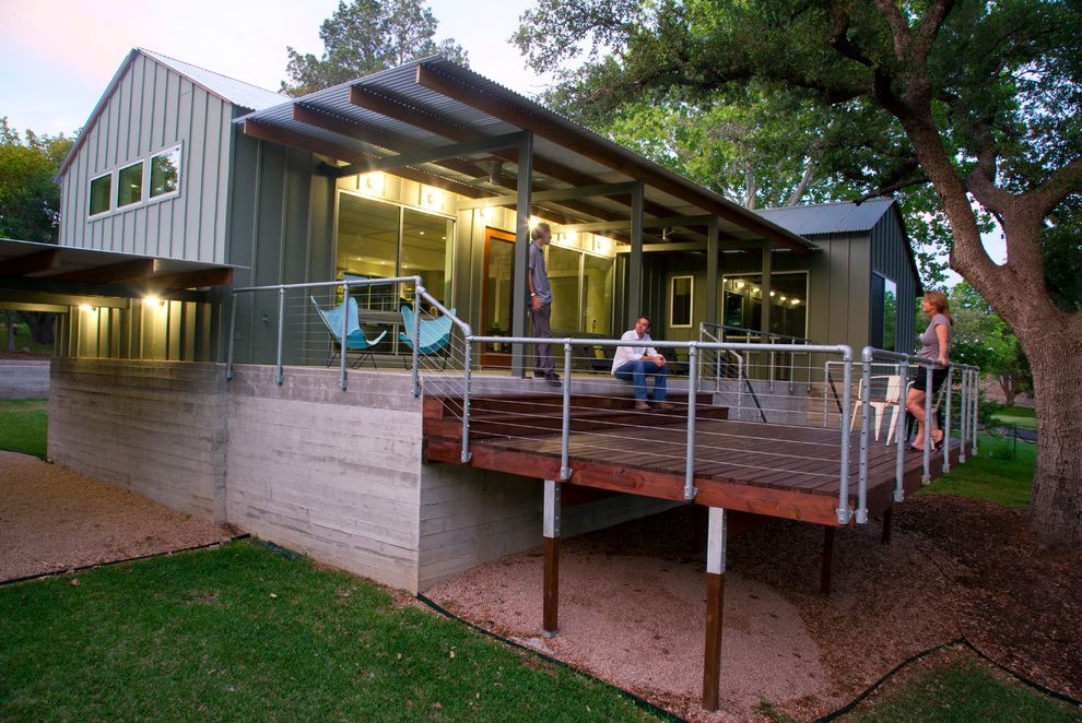 Deck Over Reviews with Modern Porch Also Cable Rail Deck Over Hang Tin Roof Wood Deck