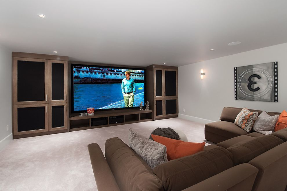 Edgemont Theater with Contemporary Home Theater  and Big Screen Tv Home Staging Ideas Home Staging North Vancouver Home Staging Vacant Home Home Theatre Artwork Sectional Sofa Staging Theatre Room Vacant Home Staging