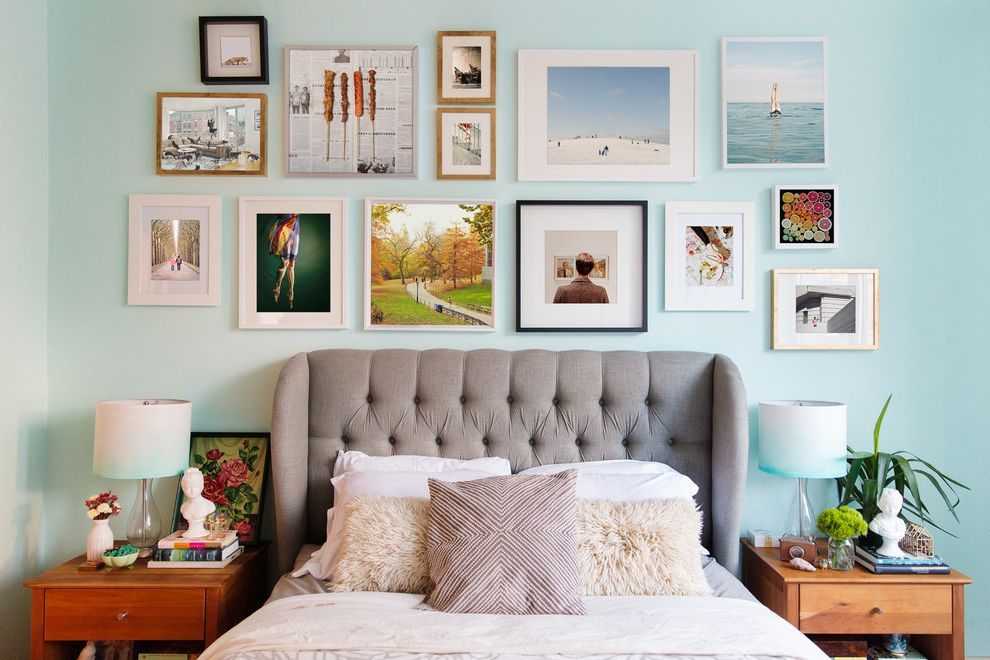 Edmond Furniture Gallery with Eclectic Bedroom  and Art Display Art Wall Bedroom Bright Cheerful Color Fresh Gallery Wall Headboard Headboard Wall Light Blue Nightstand Ombr Photography Styling Tufted Headboard