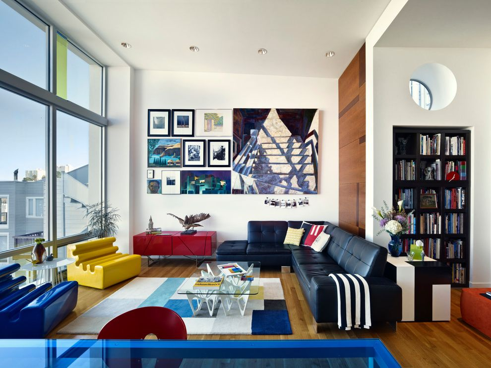 Edmond Furniture Gallery with Eclectic Living Room Also Black Leather Couch Bright Furniture Colorful Furniture Contemporary Art Gallery Wall Picture Wall Pops of Color