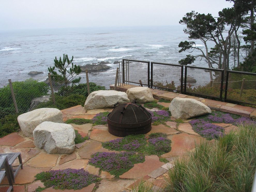 Fake Rock Covers with Contemporary Landscape Also Boulder Built in Coast Fire Pit Flagstone Grass Groundcover Ocean Outdoor Seating Patio Paver Planter Rock Stone Terrace View