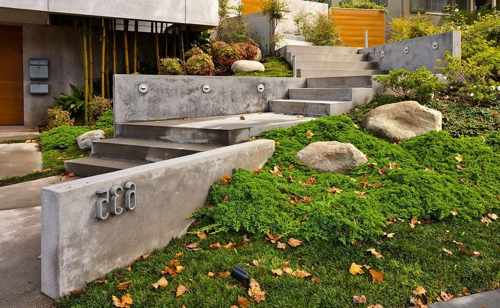 Fake Rock Covers with Modern Landscape  and Bamboo Boulders Concrete Steps House Numbers Landscape Lighting Landscaping Lawn Low Concrete Garden Wall Poured Concrete Steps to Entry Wall Mount Mailbox