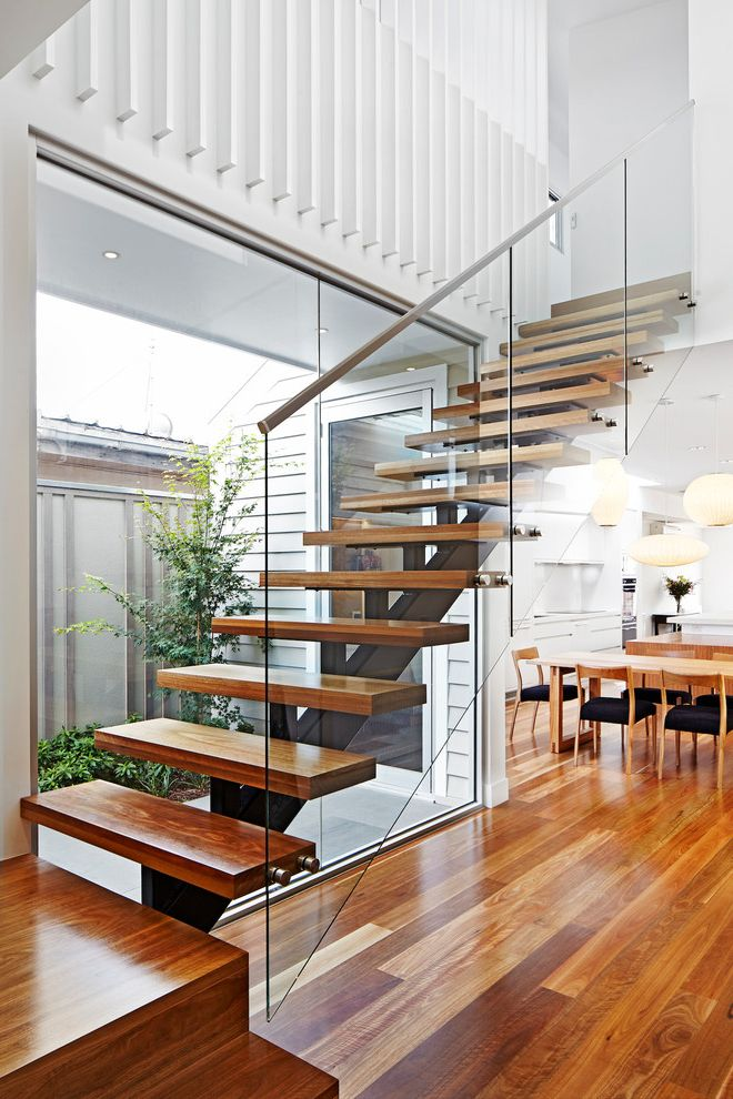 Floating Stairs Cost   Contemporary Staircase Also Amazing Staircase Floating Staircase Glass Panel Railing Glass Stair Rail High Ceilings Natural Light Staircase Wooden Floors