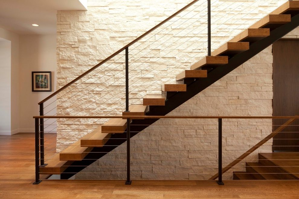 Floating Stairs Cost   Modern Staircase  and Cable Railing Floating Stairs Light Wood Steel Stone Wall Straight Stairs White Wall Wood Wood Floor Wood Railing Wood Stairs