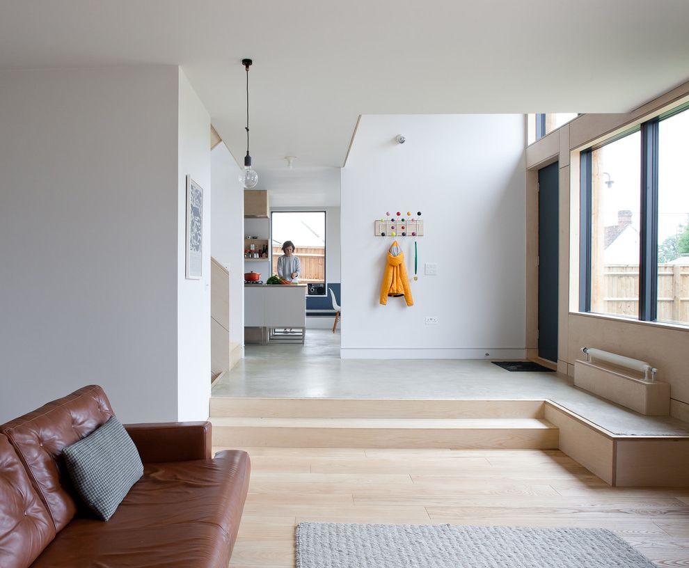 Floor Level Sofa   Scandinavian Entry  and Contemporary Design Eames Hang It All Natural Light Open Floor Plan Scandinavian Single Bulb Pendant Split Level