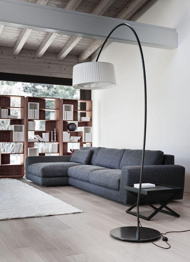 Floor Level Sofa with Contemporary Living Room  and Bookshelves Gray Sofa Lamp Modern Bookshelf Modern Floor Lamp Modern Shelving Modular Sectional Sofa Sofa