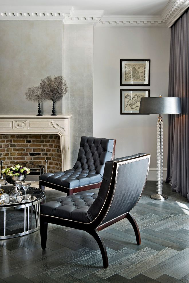 Floor Protectors for Chairs   Transitional Living Room  and Black Side Chair Gray Drapes Herringbone Wood Floor Metallic Wall Round Coffee Table Tufted Side Chair