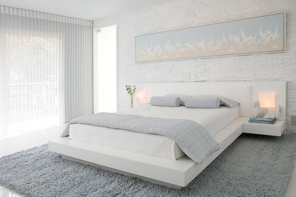 Full Bed Measurements   Contemporary Bedroom  and Area Rug Bedside Table Brick Wall Minimal Monochromatic Neutral Colors Nightstand Painted Brick Platform Bed Table Lamp Wall Art Wall Decor White Bed White Brick White Floor Window Blinds