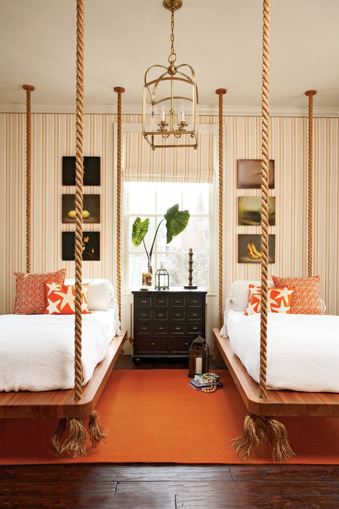 Full Bed Measurements   Traditional Bedroom  and Bed Boat Bed Hanging Bed Lantern Orange Orange Rug Rope Bed Wallpaper