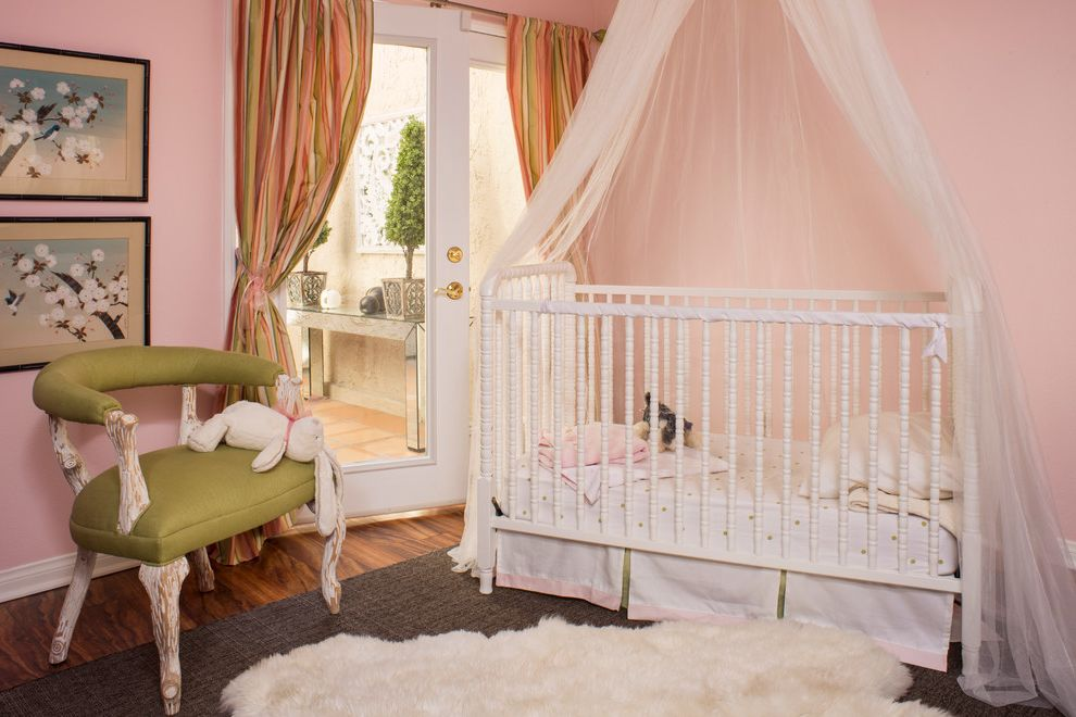 Fuzzy Rugs   Traditional Nursery Also Canopy Canopy Crib Glass Front Door Glass Wooden Door Green Polka Dot Bedding Green Upholstered Chair Light Pink Wall Pink and Green Pink and Green Stripe White Canopy Crib White Crib White Furry Rug White Fuzzy Rug