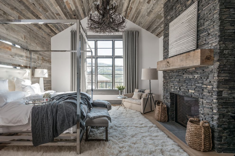 Fuzzy Rugs with Rustic Bedroom  and Contemporary Rustic Four Poster Canopy Bed Stone Fireplace Vaulted Ceiling Wood Walls