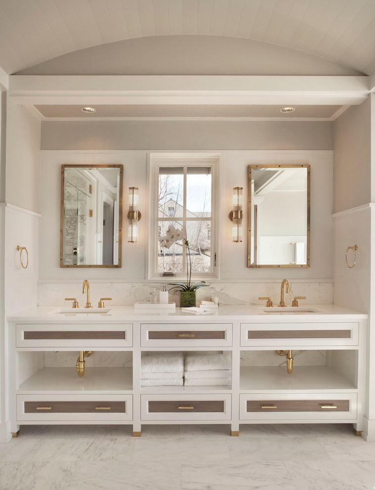 Golds Gym Sandhills   Beach Style Bathroom Also Bathroom Connecticut Contemporary Custom Built Double Vanity Gold Fixtures Gray and White Master Bathroom Modern Residential Two Sinks Vanity Waterfront Westport Window