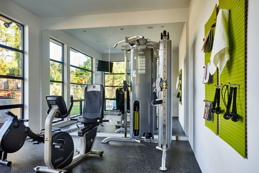 Golds Gym Sandhills   Contemporary Home Gym Also Large Windows Lime Green Utility Wall Natural Light Utility Board