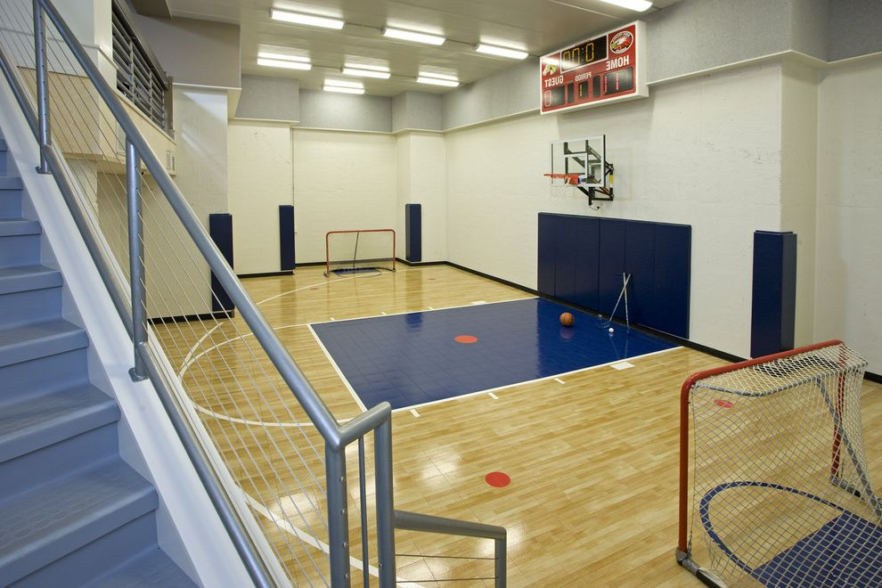 Golds Gym Sandhills   Contemporary Home Gym  and Basketball Gym Hockey Hoop Scoreboard Sport Court Stairs