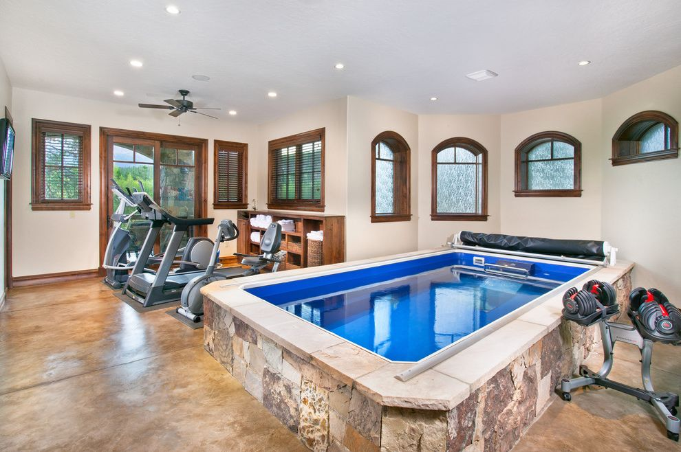 Golds Gym Sandhills with Traditional Home Gym Also Home Gym Indoor Pool Mediterranean Personal Gym Stained Concrete