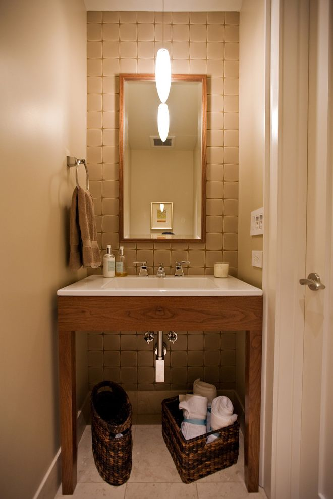 Home Depot Billings   Contemporary Powder Room Also Furniture Cabinet Guest Bath Guest Bathroom Hallway Bathroom Power Room Small Bathroom Tile Wall Tiled Wall