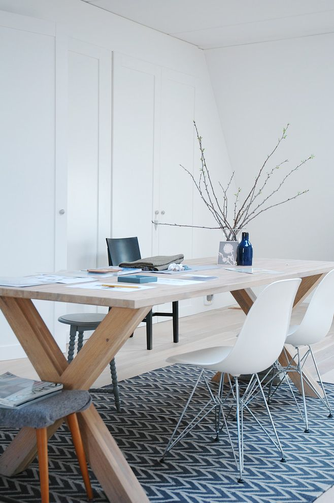 Home Depot Billings   Modern Home Office Also Area Rug Molded Plastic Chairs Natural Wood Stool Trestle Table Turned Wood White Cabinet Doors White Painted Ceiling