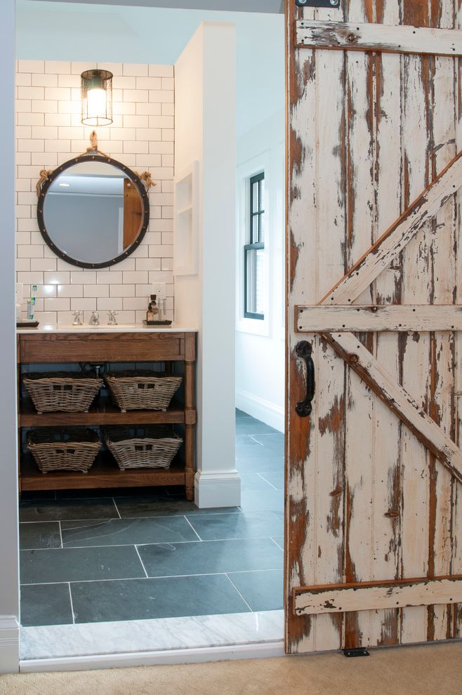 Home Depot Billings with Rustic Bathroom  and Baskets Ceramic Tile Double Vanity Gray Ceramic Floor Tiles Nautic Sconce Open Shelf Vanity Round Mirror Rustic Barn Door White Subway Tile