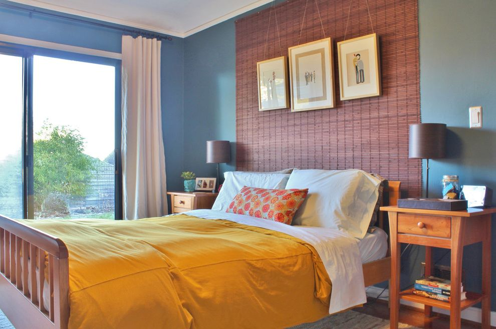 Home Depot Faux Wood Blinds with Eclectic Bedroom Also Bedroom Lighting Bedside Lamps Blue Walls My Houzz Orange Floral Pillow Small Lamps White Curtains Wood Foot Board Wood Headboard Wood Knob Pull Wood Nighstands Woven Wallhanging Yellow Bedding