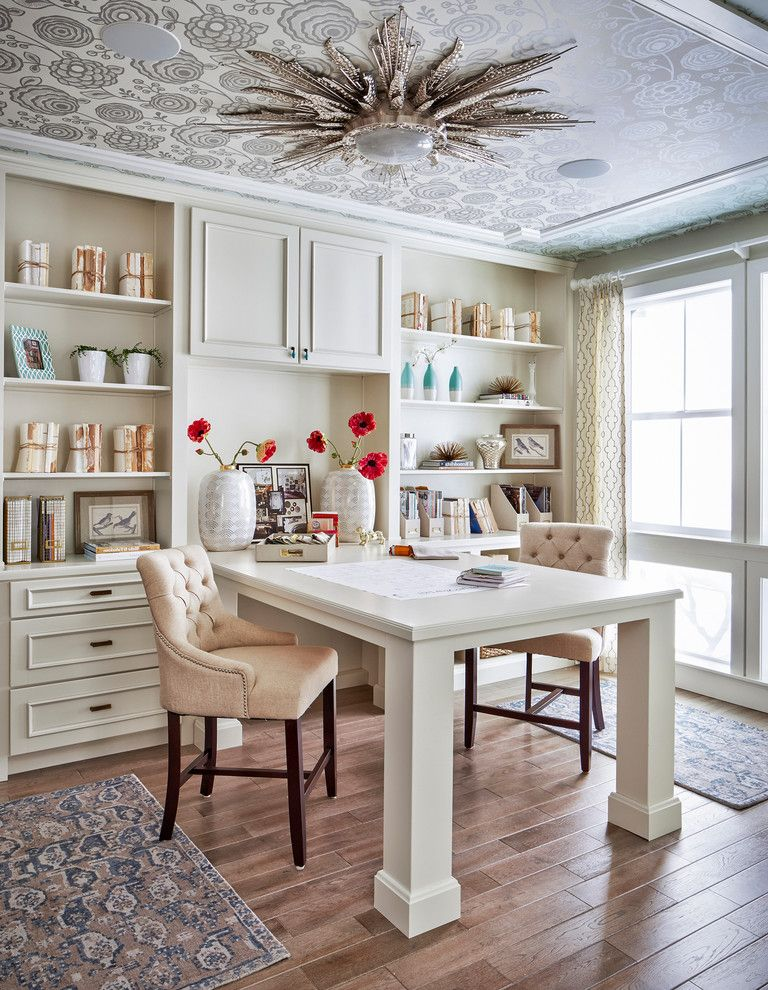 Home Depot Special Buy of the Day   Traditional Home Office  and Built in Bookshelf Built in Cabinets Nailhead Trim Peninsula Desk Starburst Ceiling Light Tufted Chair Wallpaper Ceiling White Vases