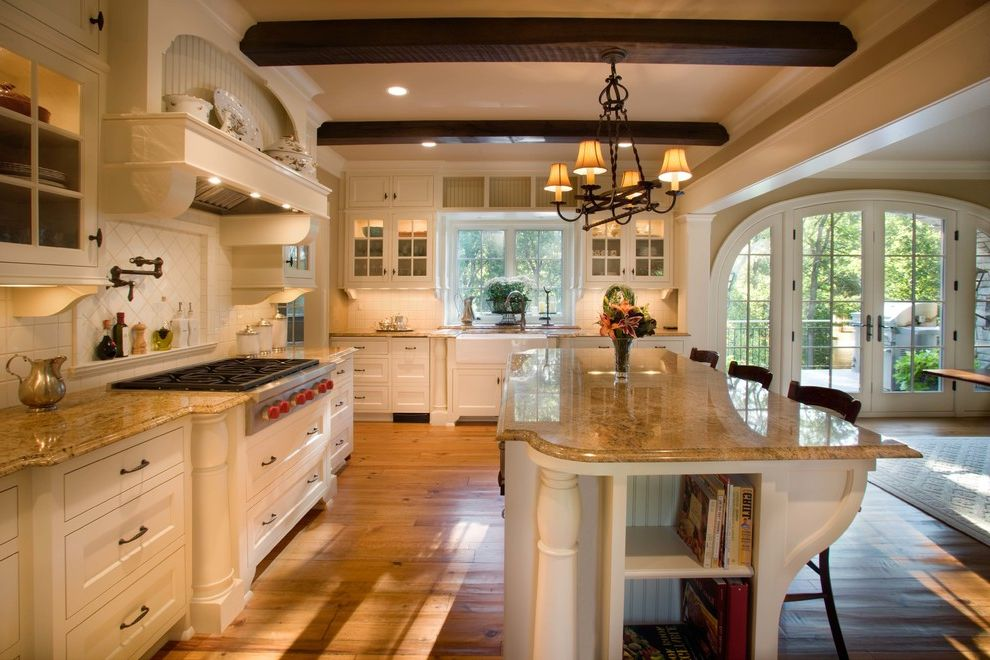 How Much Does Granite Cost with Traditional Kitchen Also Apron Sink Arched Doorway Beams Counter Stools French Doors Glass Front Cabinets Hood Island Beadboard Marble Counter Timbers White Painted Wood Wood Floor
